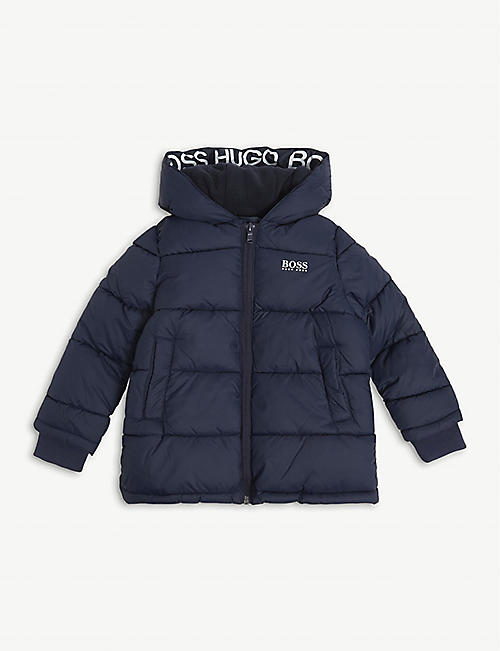BOSS: Logo-print hooded satin coat 4-16 years