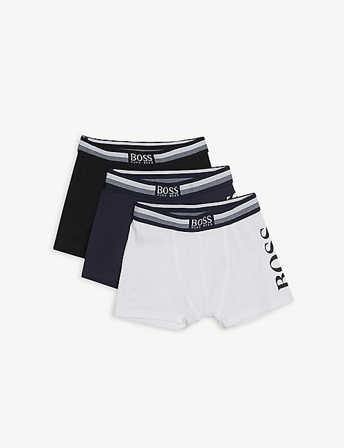 BOSS: Pack-of-three regular-fit stretch-cotton boxer shorts 4-16 years