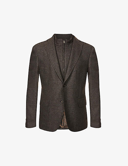 PAL ZILERI: Zip-insert single-breasted wool-blend jacket