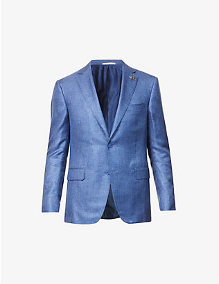 PAL ZILERI: Vicenza herringbone regular-fit silk blazer