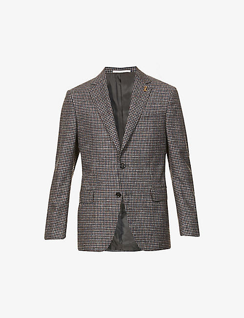 PAL ZILERI: Checked single-breasted wool and cotton-blend jacket
