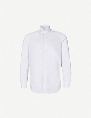 PAL ZILERI: Floral-trim regular-fit cotton-poplin shirt