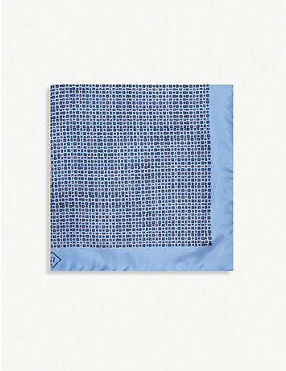 PAL ZILERI: Medallion-print silk pocket square