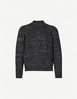 PAL ZILERI: Speckled-pattern crewneck wool-blend jumper