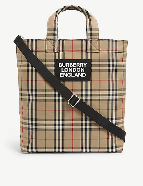 BURBERRY: Artie checked cotton-canvas tote