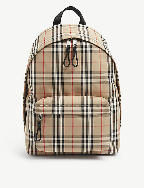 BURBERRY: Checked nylon backpack