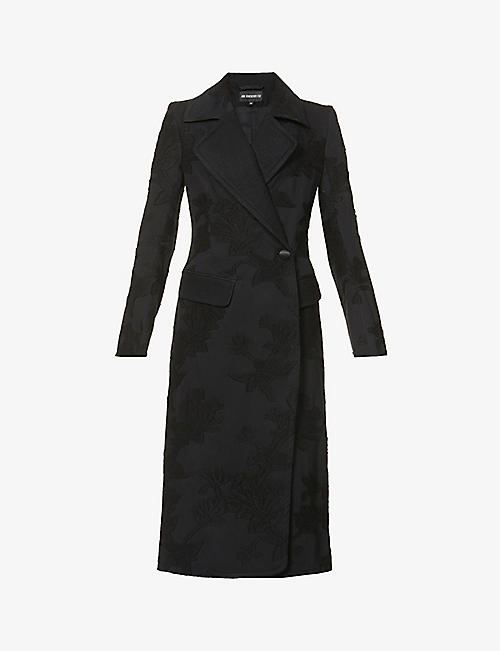 ANN DEMEULEMEESTER: Floral-jacquard wool and cotton-blend coat