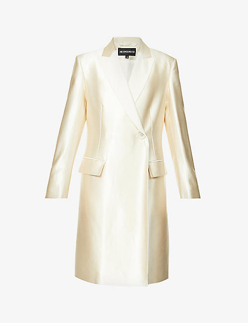 ANN DEMEULEMEESTER: Single-breasted cotton-blend satin coat