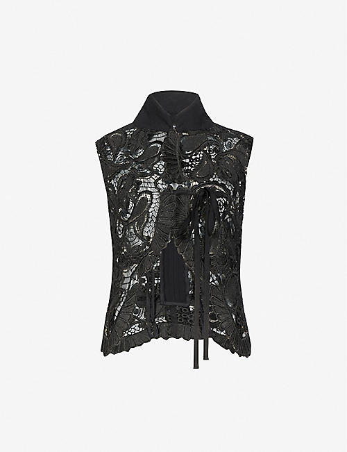 ANN DEMEULEMEESTER: High-neck sleeveless lace vest