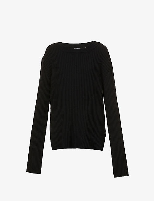 ANN DEMEULEMEESTER: Lace-panel wool jumper