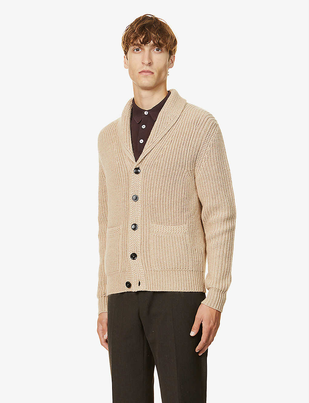 TOM FORD: Shawl collar cashmere and wool-blend cargidan