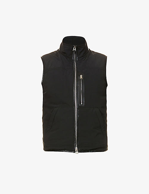 TOM FORD: Leather-trim shell gilet
