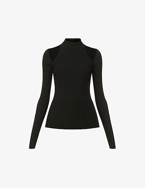 HELMUT LANG: Cut-out shoulder stretch-jersey top