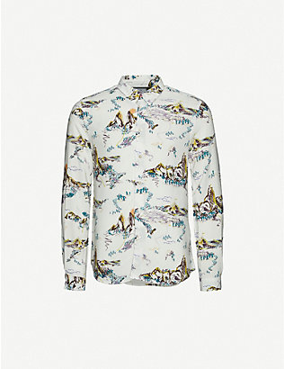PS BY PAUL SMITH: Graphic-print tailored-fit crepe shirt