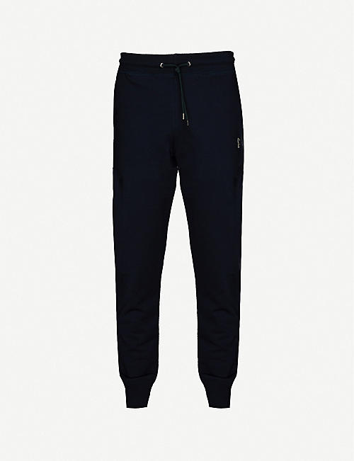 PS BY PAUL SMITH: Zebra-embroidered cotton-jersey jogging bottoms
