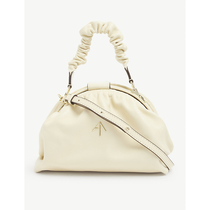 Manu Atelier DEMI RUCHED LEATHER CROSS-BODY BAG