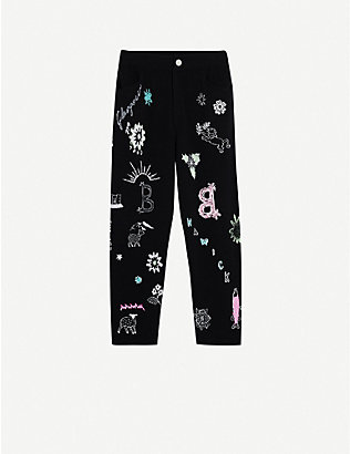 BARRIE: Symbol-embroidered straight high-rise cashmere trousers