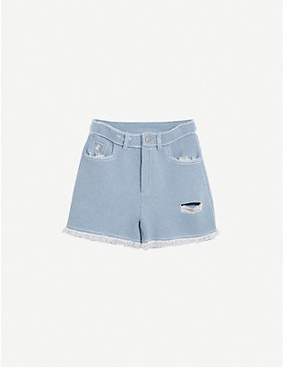 BARRIE: Distressed high-rise cashmere and cotton-blend shorts
