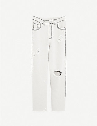 BARRIE: Distressed high-rise cashmere and cotton-blend trousers