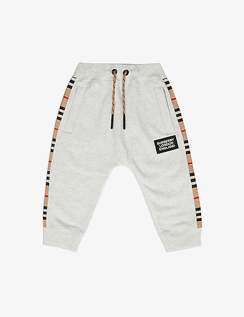 BURBERRY: Hamilton check-panel cotton-jersey jogging bottoms 6-24 months
