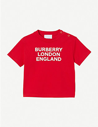 BURBERRY: Logo-print stretch-cotton T-shirt 6 -24 months