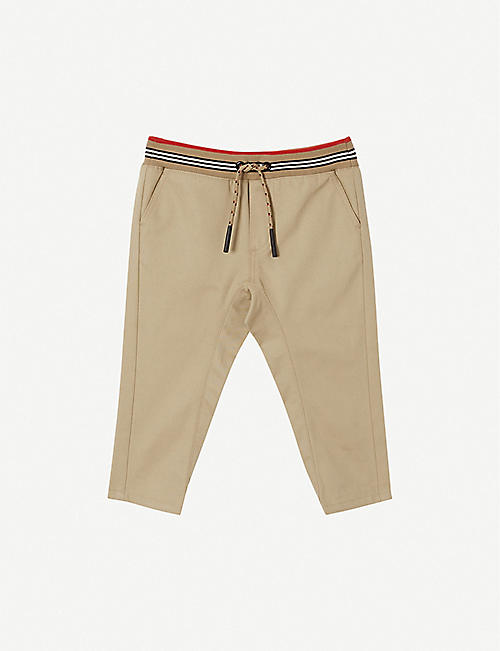 BURBERRY: Dilan cotton-twill trousers 6-24 months