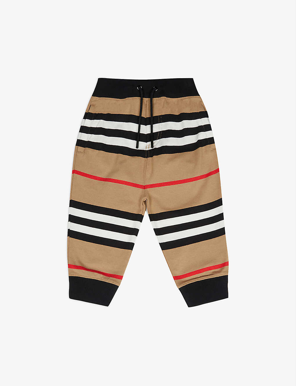 BURBERRY: Lanford striped cotton-jersey jogging bottoms 6-24 months