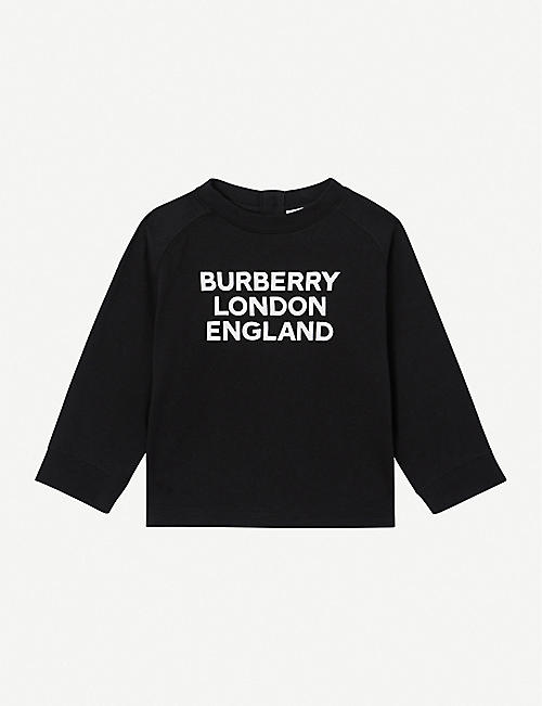 BURBERRY: Logo-print cotton jumper 6-24 months