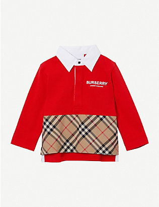 BURBERRY: Quentin cotton polo shirt 6-24 months