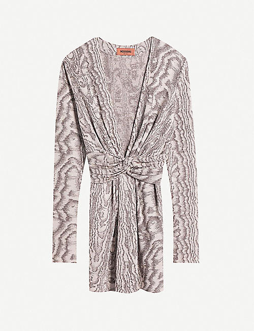 MISSONI: V-neck metallic knitted mini dress
