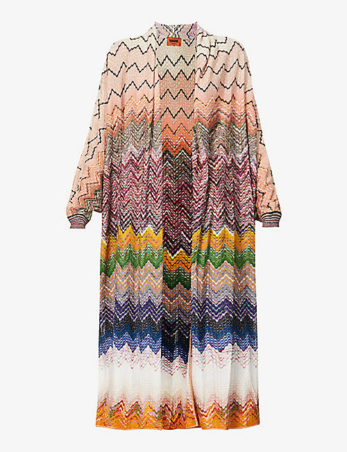 MISSONI: Zig-zag pattern knitted cardigan