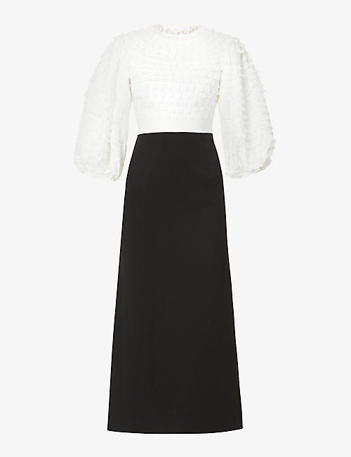 HUISHAN ZHANG: Colette puffed-sleeve crepe maxi dress