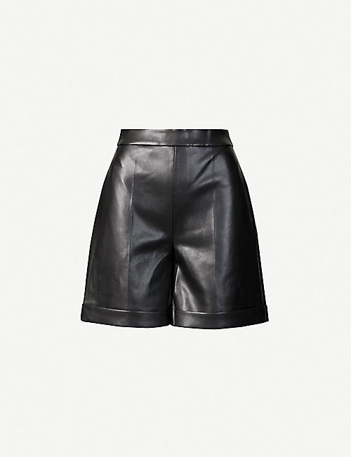 HUISHAN ZHANG: Fenella high-rise faux-leather shorts
