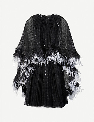 HUISHAN ZHANG: Dora cape-overlay sequin-embellished mini dress