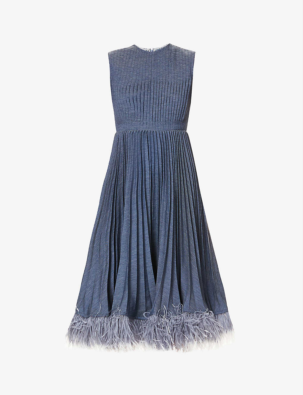 HUISHAN ZHANG: Jane feather-trimmed pleated woven midi dress