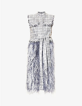 HUISHAN ZHANG: Wyatt tartan-print feather and sequin-embellished midi dress