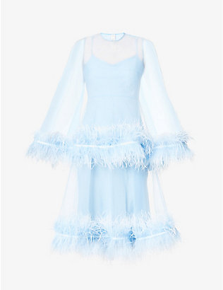 HUISHAN ZHANG: Coco feather-trimmed tulle midi dress