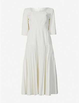 HUISHAN ZHANG: Calliope pleated cotton-blend maxi dress