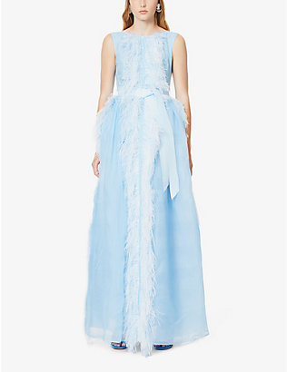HUISHAN ZHANG: Beau feather-trimmed silk-blend gown
