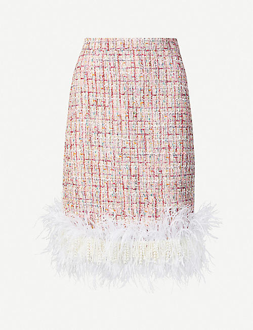 HUISHAN ZHANG: Malin pearl and feather-trim high-waist tweed mini skirt