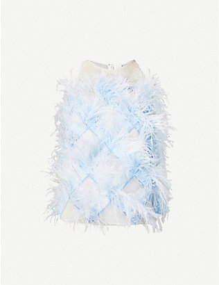 HUISHAN ZHANG: Carlotta feathered semi-sheer silk-crepe top