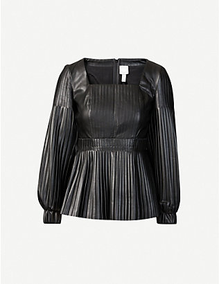 HUISHAN ZHANG: Dusty puff-sleeve pleated faux-leather top