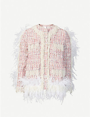 HUISHAN ZHANG: Cecil pearl-embellished feather-trim tweed jacket