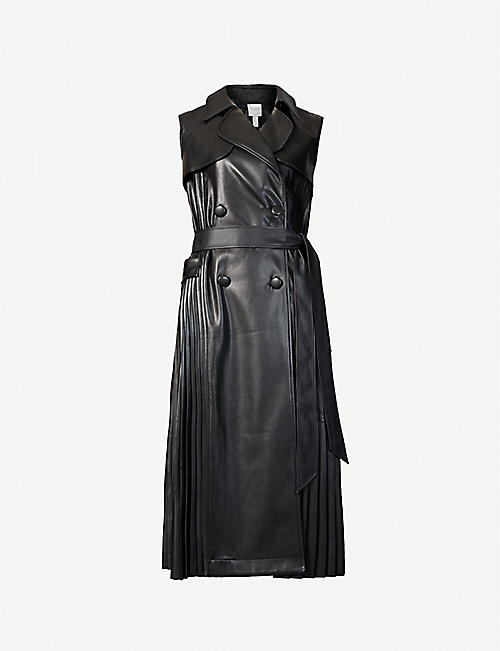 HUISHAN ZHANG: Serena pleated sleeveless faux-leather jacket