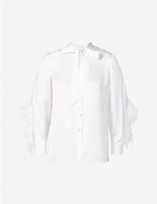 HUISHAN ZHANG: Kaylee feather-trim satin shirt