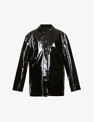 WE11 DONE: Logo-print faux-leather jacket