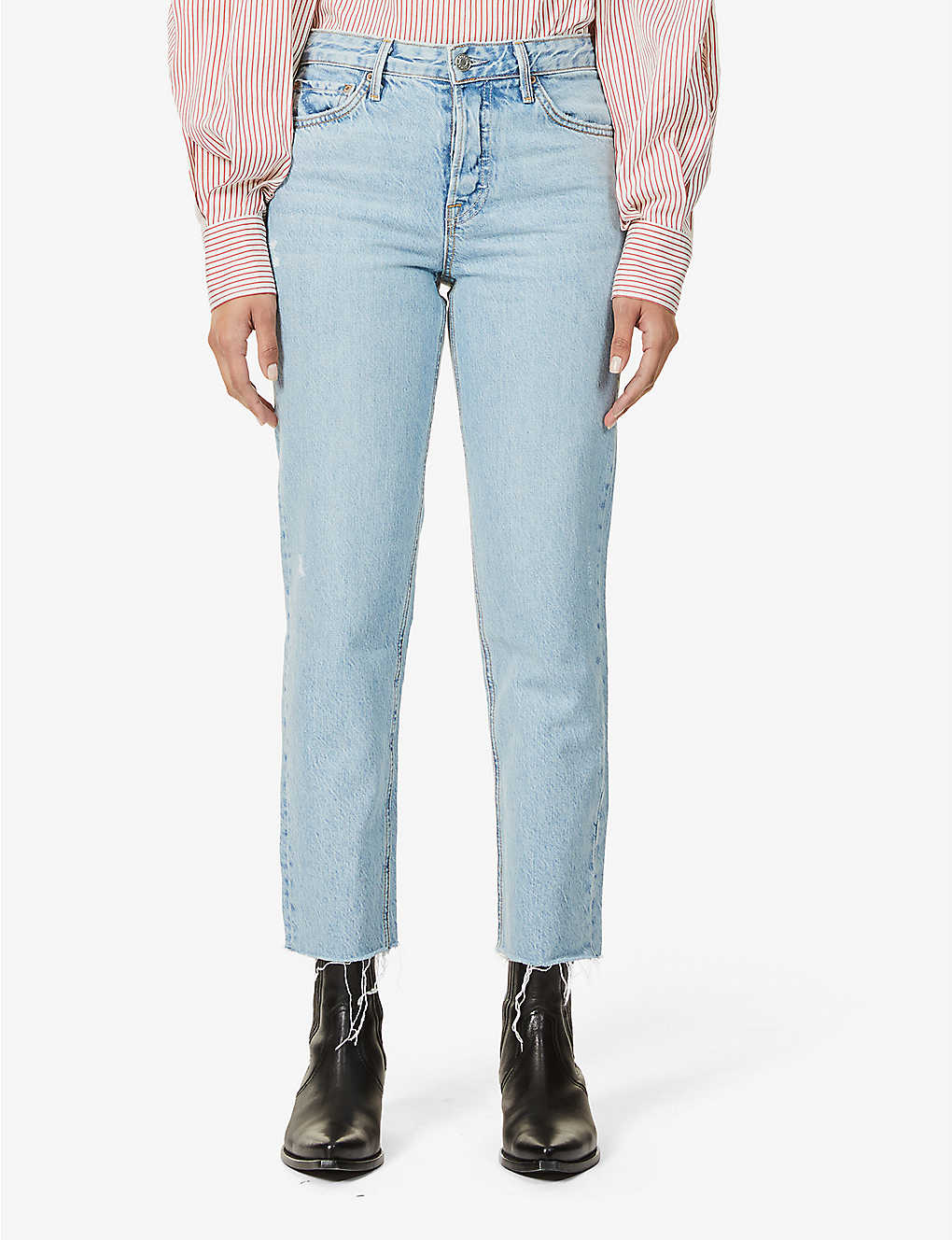 GRLFRND: Helena cropped straight-leg high-rise jeans