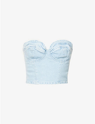 GRLFRND: Esme stretch-denim crop top