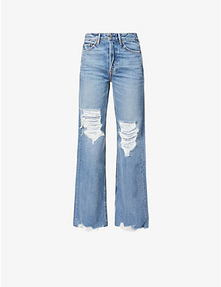 GRLFRND: Carla ripped wide-leg high-rise jeans