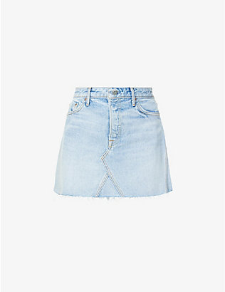 GRLFRND: Raw-hem high-waist denim mini skirt